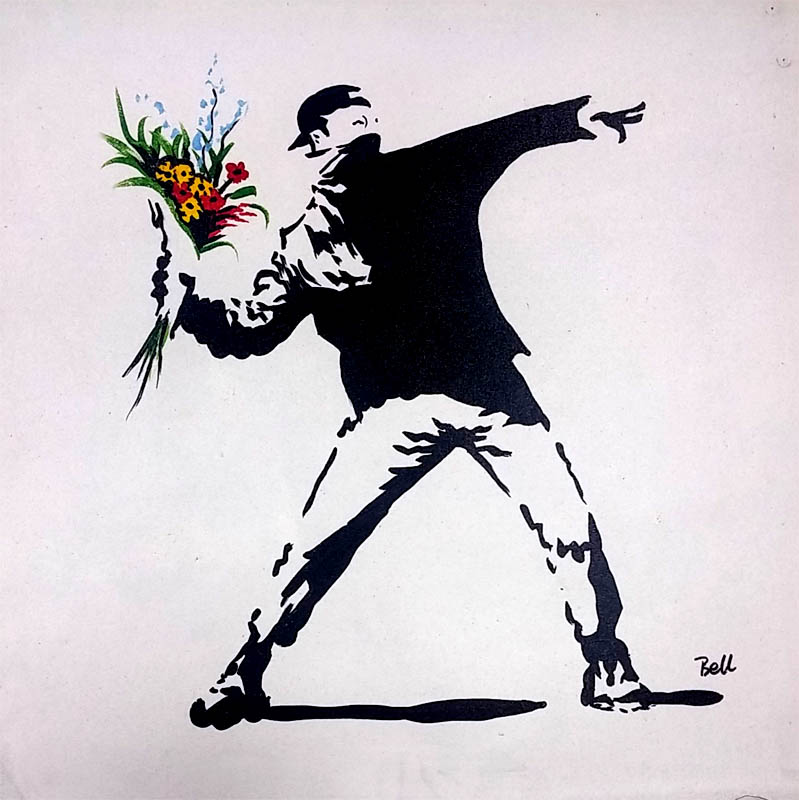 banksy throwing Oil paintings > Flowers