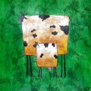 coconut 2 cows green background