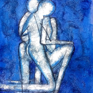 couple lovers blue