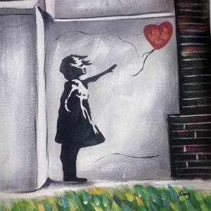 banksy girl heart